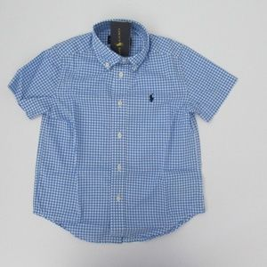 Ralph Lauren SS Blue Gingham Button Down Shirt NEW